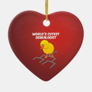 World's Cutest Genealogist Double-Sided Heart Ceramic Christmas Ornament