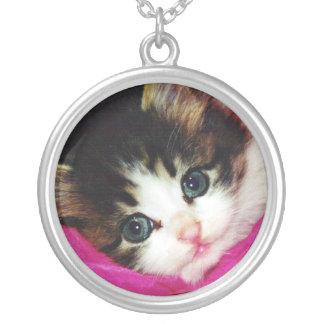Worlds Cutest Kitten Round Pendant Necklace