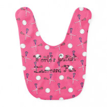 World's cutest lacrosse fan pink lacrosse pattern bib