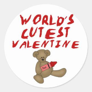 World's Cutest Valentine  Tshirts and Gifts Classic Round Sticker