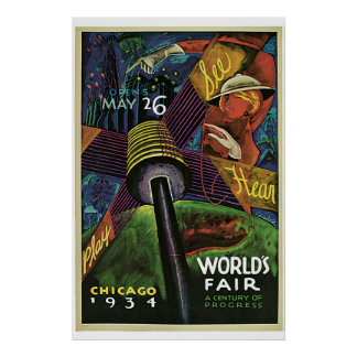 """World's Fair, Chicago, 1934"" Vintage Poster"