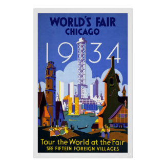"""World's Fair, Chicago 1934"" Vintage Poster"