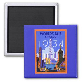 World's Fair Chicago 1934 ~ Vintage Travel 2 Inch Square Magnet