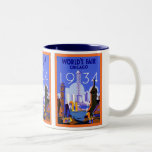 World's Fair Chicago 1934 ~ Vintage Travel Two-Tone Coffee Mug