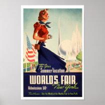 World's Fair in New York Vintage Poster Print