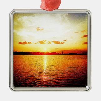 World's Fair Marina Sunset Metal Ornament