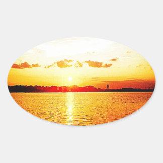 World's Fair Marina Sunset Oval Sticker