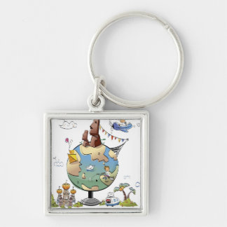 World's famous places around the globe keychain