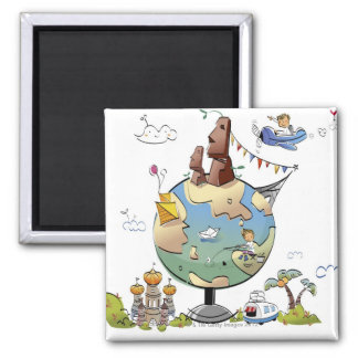 World's famous places around the globe magnet
