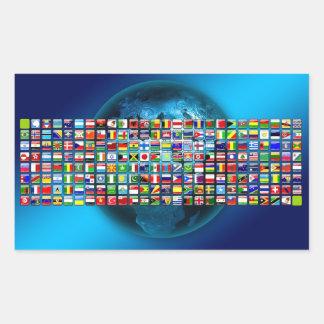 World's flags rectangular sticker