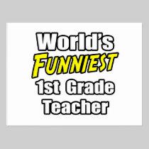 World's Funniest 1st Grade Teacher Postcard