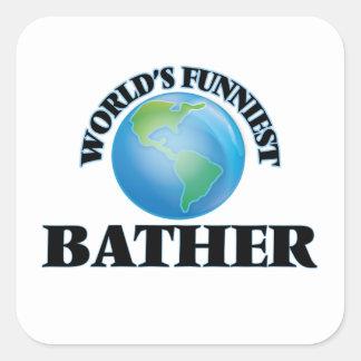 World's Funniest Bather Square Sticker