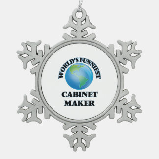 World's Funniest Cabinet Maker Snowflake Pewter Christmas Ornament