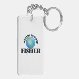 World's Funniest Fisher Double-Sided Rectangular Acrylic Keychain