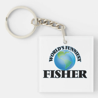 World's Funniest Fisher Single-Sided Square Acrylic Keychain