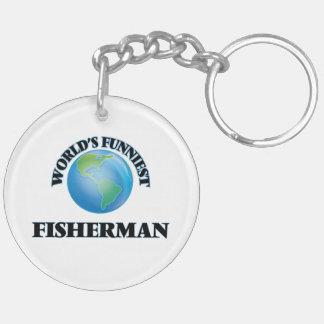 World's Funniest Fisherman Double-Sided Round Acrylic Keychain