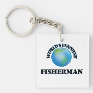 World's Funniest Fisherman Single-Sided Square Acrylic Keychain