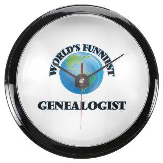 World's Funniest Genealogist Aqua Clock