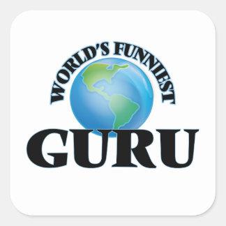 World's Funniest Guru Square Sticker