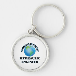 World's Funniest Hydraulic Engineer Silver-Colored Round Keychain
