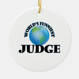 World's Funniest Judge Double-Sided Ceramic Round Christmas Ornament