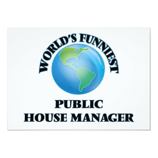 """World's Funniest Public House Manager 5"""" X 7"""" Invitation Card"""