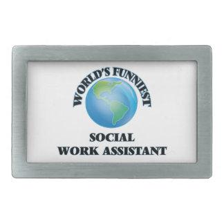 World's Funniest Social Work Assistant Rectangular Belt Buckle