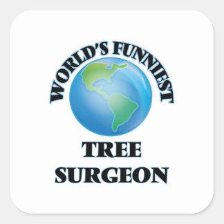 World's Funniest Tree Surgeon Square Stickers
