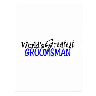 Worlds Greastest Groomsman Blue Black Postcard
