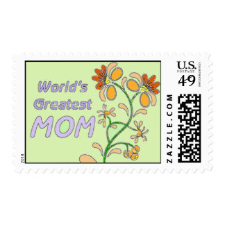 World's Great Mom Flowers Postage