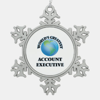World's Greatest Account Executive Snowflake Pewter Christmas Ornament