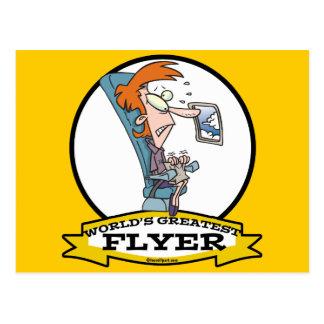 WORLDS GREATEST AIRPLANE FLYER WOMEN CARTOON POSTCARD