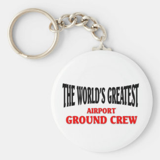 World's Greatest Airport Ground Crew Basic Round Button Keychain