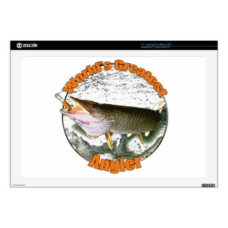 """World's greatest angler 17"""" laptop decal"""