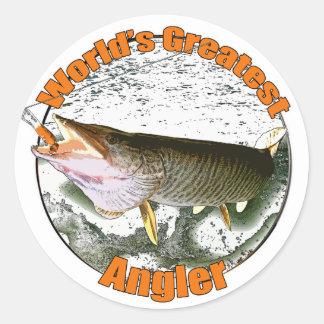 World's greatest angler classic round sticker