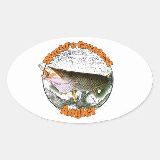 World's greatest angler oval sticker