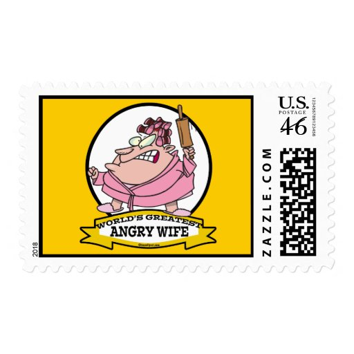 WORLDS GREATEST ANGRY WIFE CARTOON POSTAGE STAMPS
