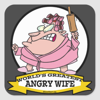 WORLDS GREATEST ANGRY WIFE CARTOON SQUARE STICKER