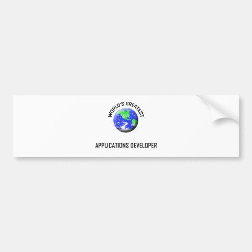 World's Greatest Applications Developer Car Bumper Sticker