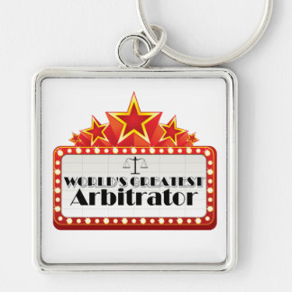 World's Greatest Arbitrator Silver-Colored Square Keychain