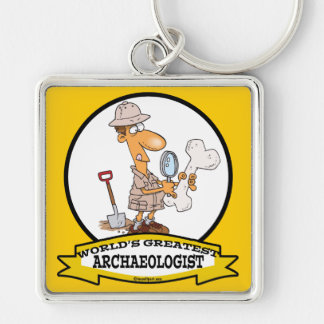 WORLDS GREATEST ARCHAEOLOGIST MEN CARTOON Silver-Colored SQUARE KEYCHAIN