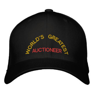 WORLD'S GREATEST, AUCTIONEER EMBROIDERED BASEBALL HAT