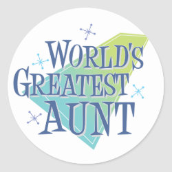 Round Sticker with World's Greatest Aunt design