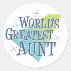 Round Sticker with World's Greatest Aunt design