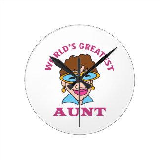 WORLDS GREATEST AUNT ROUND WALLCLOCKS