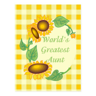 World's Greatest Aunt Country Sunflower Postcards