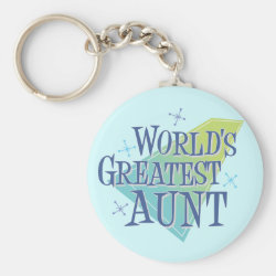 Basic Button Keychain with World's Greatest Aunt design