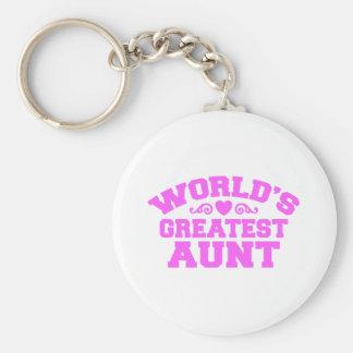 World's Greatest Aunt Basic Round Button Keychain