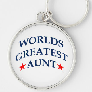 Worlds Greatest Aunt Silver-Colored Round Keychain