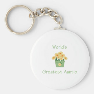 World's Greatest Auntie (flower) Keychain